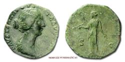 Ancient Coins - Faustina Junior AE DUPONDIUS 161 AD S C Diana 45/70 EXTREMELY RARE (RRRR) Roman coin for sale