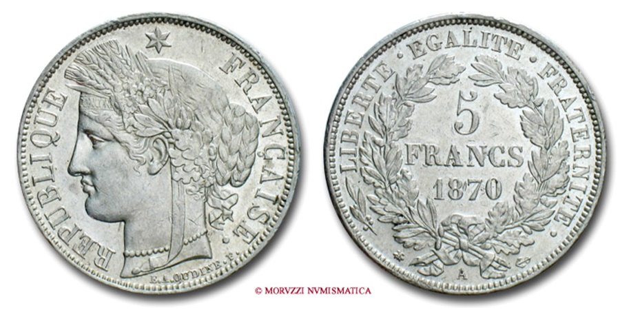 World Coins - FRANCE GOVERNMENT OF NATIONAL DEFENSE 5 FRANCS 1870 A CERES PARIS french coin
