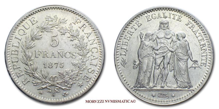 World Coins - French Third Republic 5 FRANCS 1875 A Hercule PARIS RARE (R) french coin