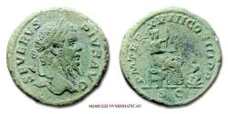 Ancient Coins - Septimius Severus AE AS 210 AD P M TR P XVIII COS III PP S C Roma 52/70 VERY RARE (RR) Roman coin for sale