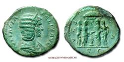 Ancient Coins - Julia Domna AE AS 214 AD VESTA / S C 45/70 VERY RARE (RR) Roman Imperial coin for sale