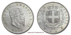 World Coins - Kingdom of Italy Victor Emmanuel II 5 LIRE 1871 Milan SILVER 61/70 Italian coin for sale