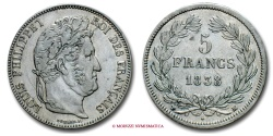 World Coins - FRANCE LOUIS PHILIPPE I 5 FRANCS 1838 MA MARSEILLE french coin