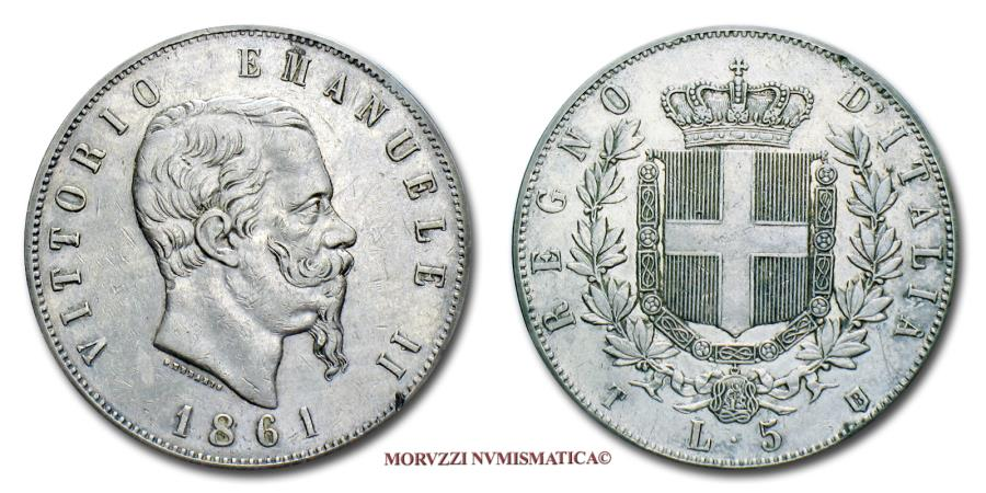 World Coins - Kingdom of Italy Victor Emmanuel II 5 LIRE 1861 Turin SILVER 45/70 VERY RARE (RR) Italian coin for sale