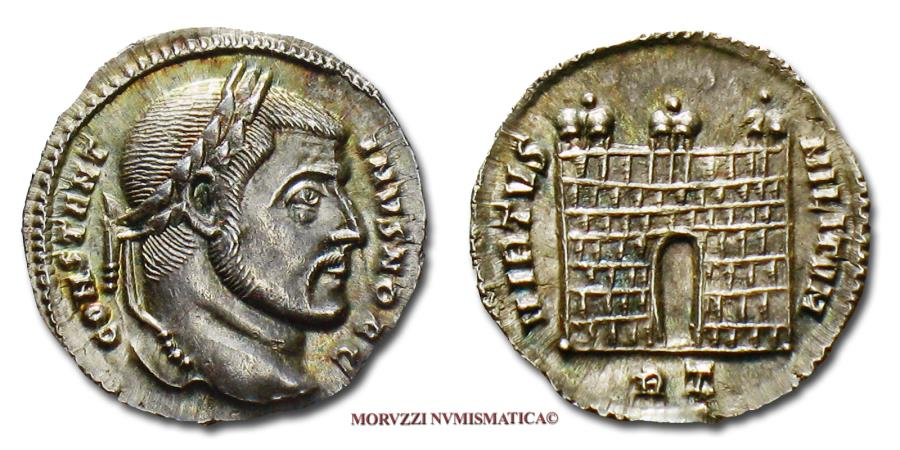 Ancient Coins - CONSTANTINE I THE GREAT Caesar Argenteus 306-307 AD VIRTVS MILITVM / RT campgate SILVER 62/70 VERY RARE (RIC 154/R) Roman Imperial coin for sale