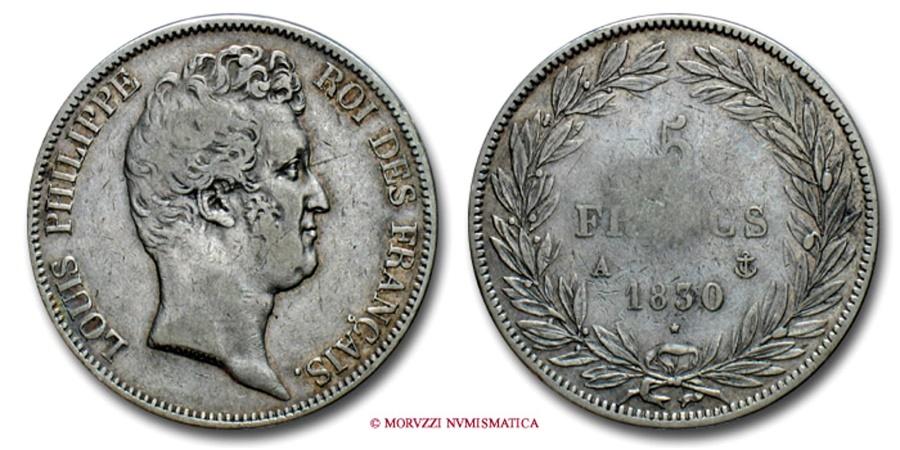 World Coins - FRANCE LOUIS PHILIPPE I 5 FRANCS 1830 A PARIS RARE (R) french coin