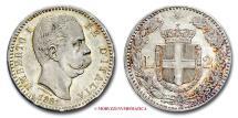 World Coins - Kingdom of Italy Humbert I 2 LIRE 1881 Silver near UNCIRCULATED italian coin