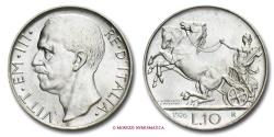 World Coins - KINGDOM OF ITALY VICTOR EMMANUEL III 10 LIRE Biga - bordo sottile 1926 RARE (R) italian coin
