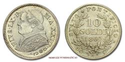 World Coins - Pius IX 10 SOLDI 1869 A XXIII SILVER 63/70 Papal coin for sale