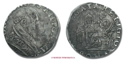 World Coins - PAPAL STATES GREGORY XIII TESTONE papal coin