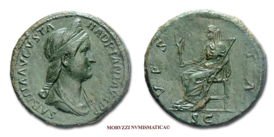 Ancient Coins - Sabina SESTERTIUS 117-138 AD VESTA S C 40/70 (RIC 1036) Roman Imperial coin for sale