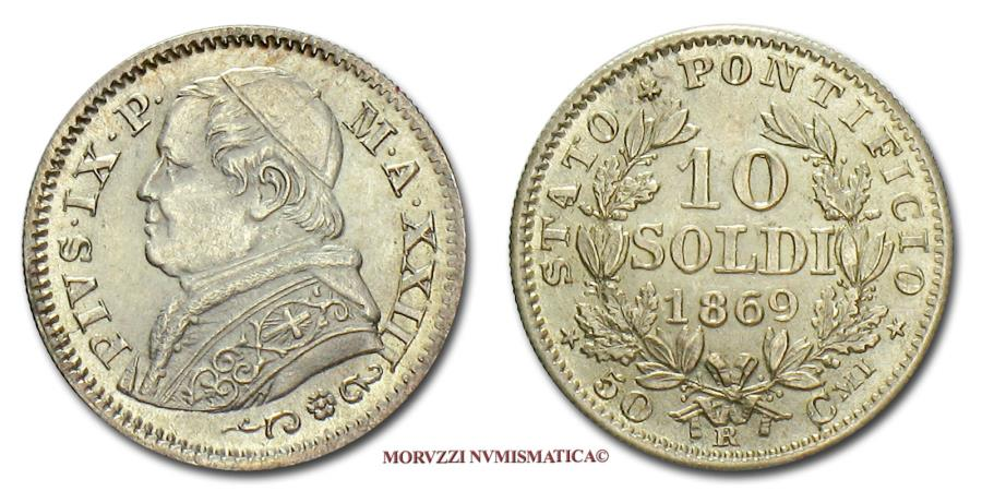 World Coins - Pius IX 10 SOLDI 1869 A XXIII SILVER 63/70 Papal coin for sale