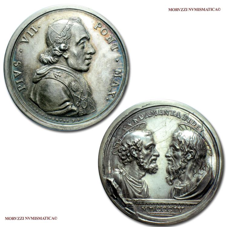 World Coins - Pope Pius VII Extraordinary Silver Medal 1804 Devotion to the SS. Apostles Peter and Paul Opus Mercandetti 65/70 VERY RARE (Patrignani 19b) Papal medal for sale