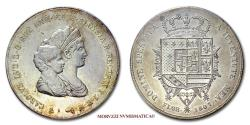 World Coins - Charles Louis (Louis II of Etruria) and Maria Louisa Duchess of Lucca DENA 1807 Florence SILVER 50/70 RARE (R) Italian coin for sale