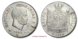 World Coins - Kingdom of Italy NAPOLEON I 5 LIRE 1809 Milan SILVER italian coin