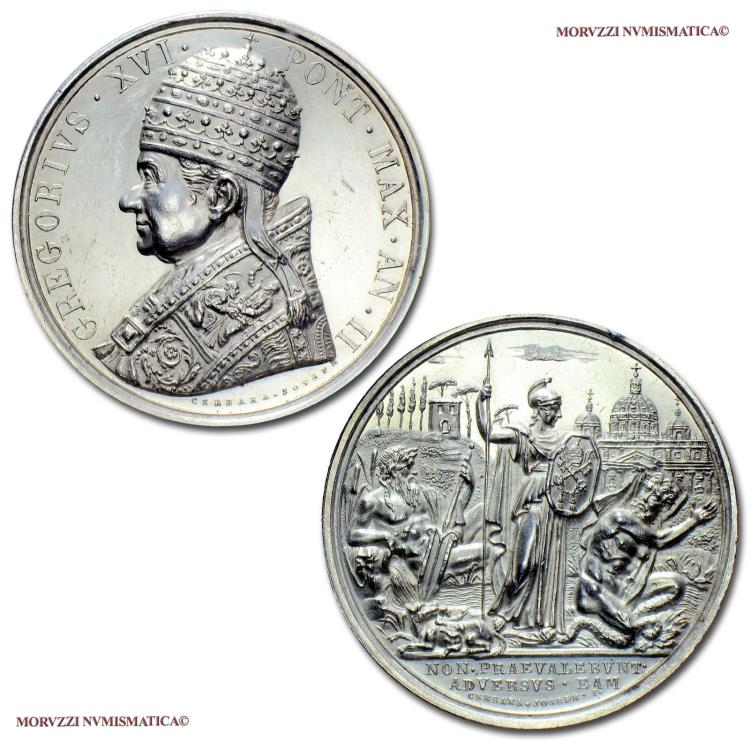 World Coins - Gregory XVI Silver Medal 1832 AN II Revolutions of 1830-1831 Opus Giuseppe Cerbara 59/70 RARE (R) Papal medal for sale