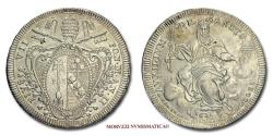 World Coins - Pius VII SCUDO 1802 AN II Type AVXILIVM SILVER 52/70 RARE (R) Papal coin for sale