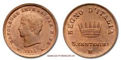 World Coins - Napoleon I King of Italy 3 SOLDI 1813 Milan Red copper UNCIRCULATED Italian coin for sale