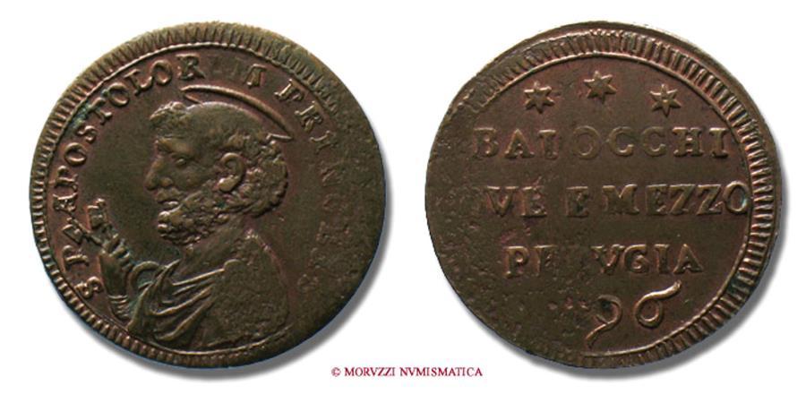 World Coins - Papal States PIUS VI SAMPIETRINO DA 2,5 BAIOCCHI 1796 Perugia RARE (R) papal coin