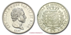 World Coins - Kingdom of Sardinia Charles Felix 5 LIRE 1830 Genoa SILVER italian coin