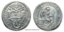 World Coins - Clement XI GIULIO A XIV Saint Peter SILVER 58/70 RARE (R) Papal coin for sale