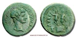 Ancient Coins - Augustus BRONZE after 30 BC AVG DIVI F DIVO IVL Philippi 45/70 SCARCE (NC) Roman coin for sale