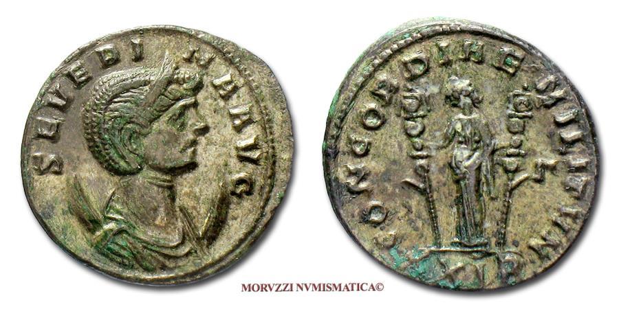 Ancient Coins - Ulpia Severina BILLON ANTONINIANUS 270-275 AD CONCORDIAE MILITVM / XXIR / #G# Concordia (45/70) Roman coin for sale