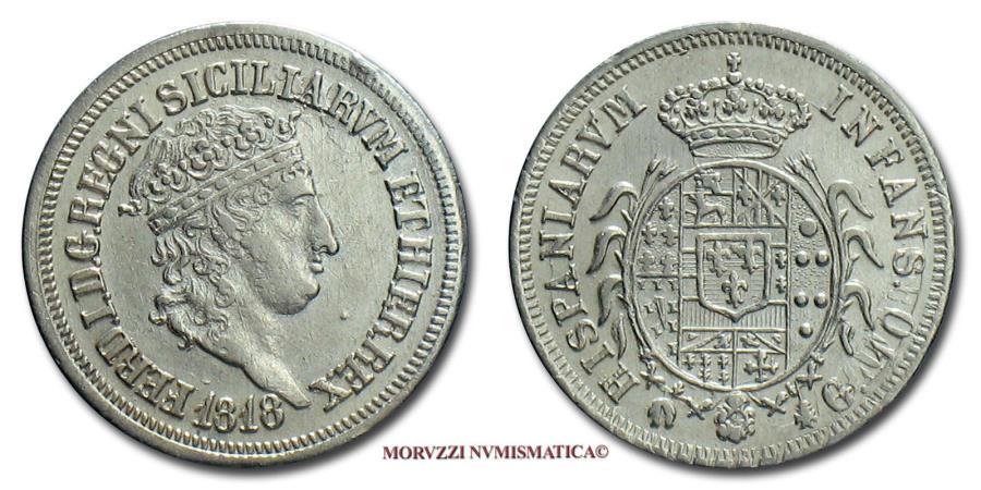 World Coins - Kingdom of the Two Sicilies Ferdinand I CARLINO 10 GRANA 1818 Naples SILVER italian coin