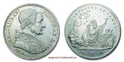 World Coins - Gregory XVI 50 BAIOCCHI 1834 SILVER 62/70 Papal coin for sale
