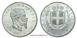 World Coins - Kingdom of Italy Victor Emmanuel II 5 LIRE 1873 Milan SILVER 63/70 Italian coin for sale