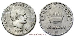 World Coins - Kingdom of Italy NAPOLEON I 15 SOLDI 1809 MILAN VERY RARE (RRR) Italian coin for sale