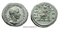 Ancient Coins - Macrinus SILVER DENARIUS 217-218 AD SALVS PVBLICA 45/70 RARE (R) Roman coin for sale