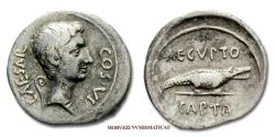 Ancient Coins - Octavian SILVER DENARIUS 28 BC AEGYPTO CAPTA Crocodile Roman coin for sale