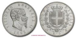 World Coins - Kingdom of Italy Victor Emmanuel II 5 LIRE 1865 Naples SILVER RARE (R) roman coin