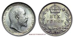 World Coins - King Edward VII of United Kingdom SILVER 6 PENCE 1908 London 64/70 World & British coin for sale