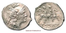 Ancient Coins - Anonymous SILVER QUINARIUS after 211 BC Roma / Dioscuri 55/70 SCARCE (NC) Roman coin for sale