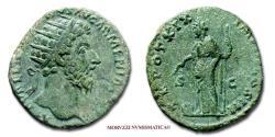Ancient Coins - Marcus Aurelius AE DUPONDIUS 164-165 AD TR POT XIX IMP II COS III S C Providentia 45/70 Roman coin for sale