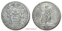 World Coins - PAPAL STATES INNOCENT XI PIASTRA 1681 RARE (R) papal coin