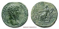 Ancient Coins - Lucius Verus SESTERTIUS 161-162 AD TR POT II COS II / FORT RED / S C 55/70 (RIC 1319) Roman Imperial coin for sale