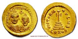 Ancient Coins - Heraclius and Heraclius Constantine GOLD Solidus 613-625 AD VICTORIA AVGY B / CONOB Constantinople 58/70 Byzantine coin for sale