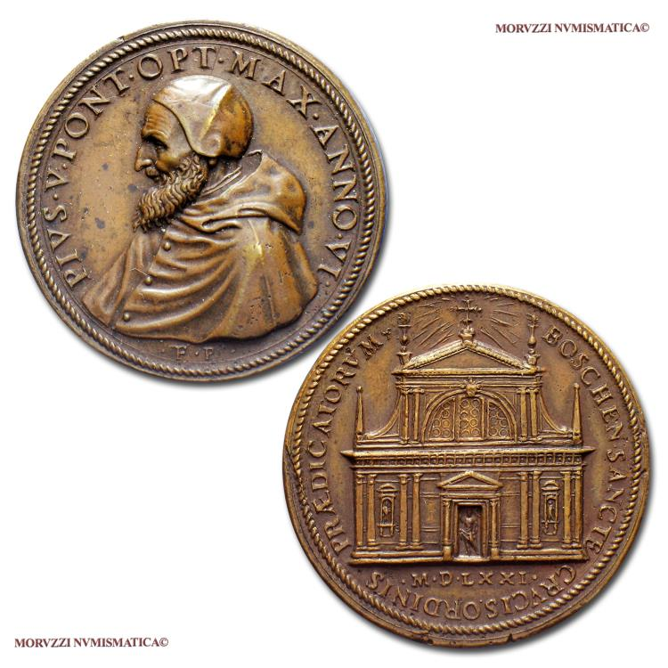 World Coins - Pius V Bronze Medal Recoinage ANNO VI (1571) Church of the Holy Cross in Bosco Marengo Opus Bonzagni 55/70 RARE (R) Papal medal for sale