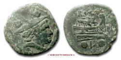 Ancient Coins - ANONYMOUS AE SEXTANS 211-208 BC Mercury / prow Luceria Roman Republican coin for sale
