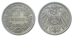 World Coins - German Empire Wilhelm II 1 MARK 1907 J Hamburg SILVER 60/70 World coin for sale