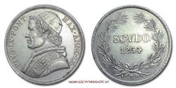World Coins - Pope Pius IX SCUDO 1854 ANNO IX SILVER 58/70 Papal coin for sale