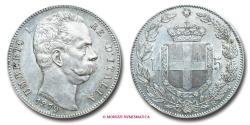 World Coins - Kingdom of Italy Humbert I 5 LIRE 1879 SILVER italian coin