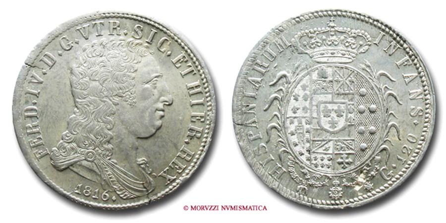World Coins - Kingdom of Naples Ferdinand IV of Bourbon PIASTRA DA 120 GRANA 1816 RARE (R) World & Italian coin for sale