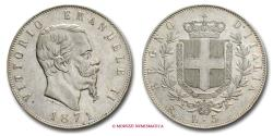 World Coins - Kingdom of Italy Victor Emmanuel II 5 LIRE 1871 Rome SILVER RARE (R) italian coin