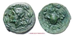 Ancient Coins - The Bruttians BRETTION Bronze 282-203 BC head of sea god / crab 50/70 SCARCE (NC) ancient Greek coin for sale