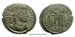 Ancient Coins - Vetranio SMALL BRONZE 350 AD CONCORDIA MILITVM / ASIS Siscia 45/70 RARE (R) Roman coin for sale