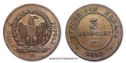 World Coins - Roman Republic (1849) 3 BAIOCCHI 1849 DIO E POPOLO COPPER 45/70 Papal coin for sale